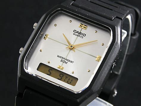 Casio Digital Analog Aw 48he 7 楽天市場 カシオ casio アナデジ 腕時計 aw 48he 7a シルバー 215 ブラック ラバーベルト メンズ