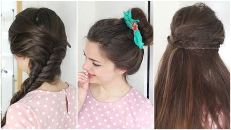 hairstyles for long hair yt three heat free hairstyles youtube