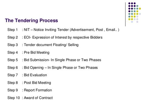 bid bid tendering process bid evaluation award process
