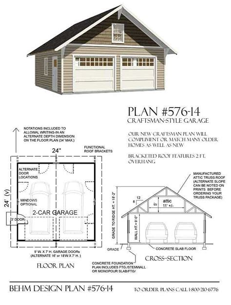workshop design online 2 car pdf garage plans d no 576 14 24 x 24 by behm