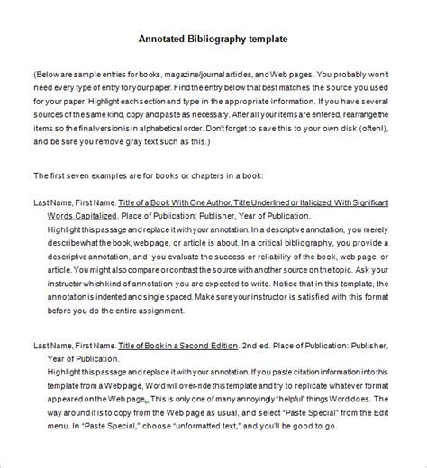 Annotated Bibliography Template 9 annotated bibliography templates free word pdf