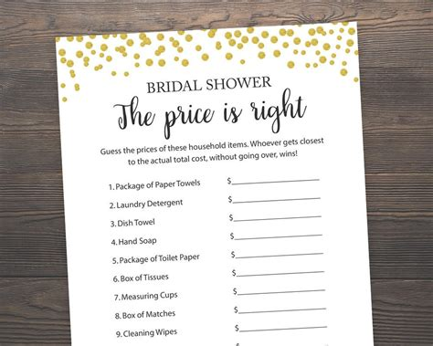 printable price is right bridal shower game the price is right bridal shower games gold printable games
