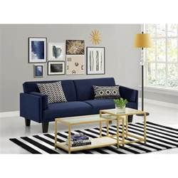 ameriwood metro microfiber convertible sofa in navy blue