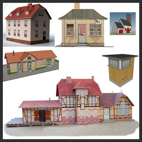 Papercraft Shop - new paper craft railway diorama free building paper