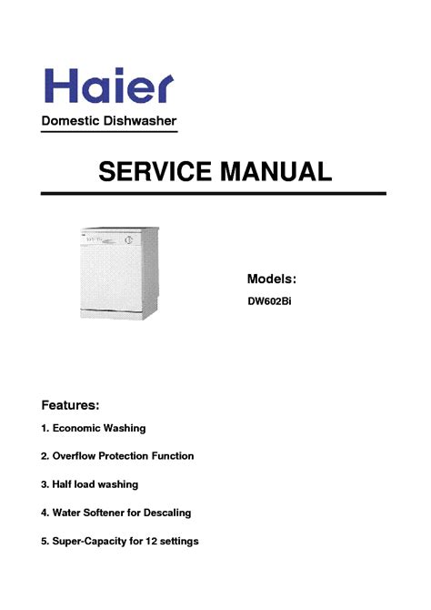 Haier Dishwasher Manual Haier Dw12 Afm4me Dw602bi Dishwasher Service Manual