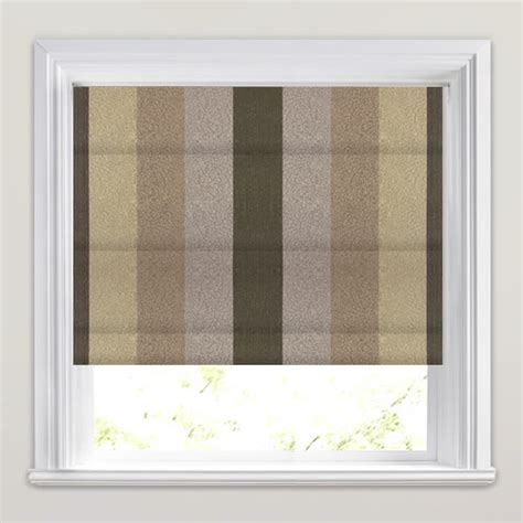 brown patterned roman blinds textured mocha brown beige olive striped roman blinds