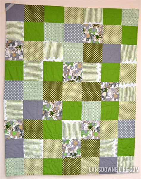 Green Patchwork Quilt - green patchwork squares baby quilt lansdowne