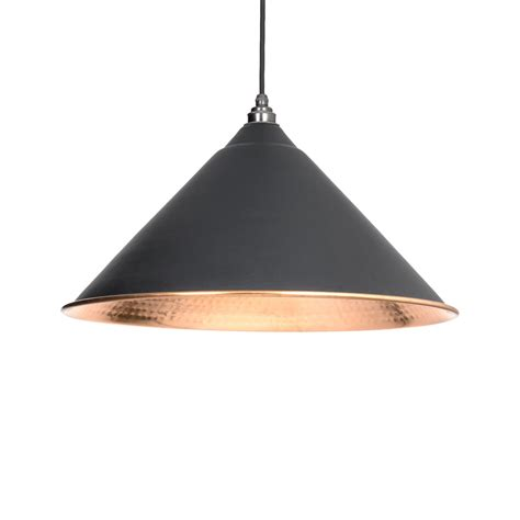 Black Hockley Pendant Light With Hammered Copper Period Hammered Copper Pendant Lights