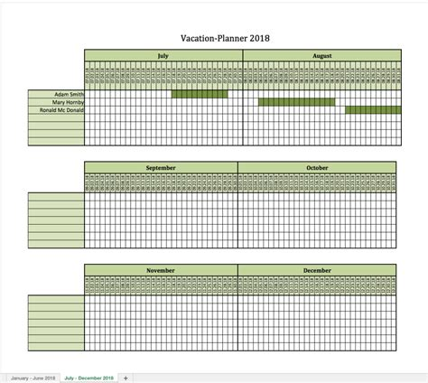 Vacation Planner 2018 Excel Templates For Every Purpose Employee Vacation Planner Template Excel