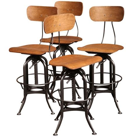 vintage industrial chairs and stools set of 4 original vintage industrial toledo bar stools