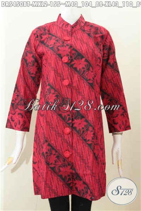 Dress Batik Wanita Merah Hitam baju batik monokrom kerah shanghai warna merah hitam