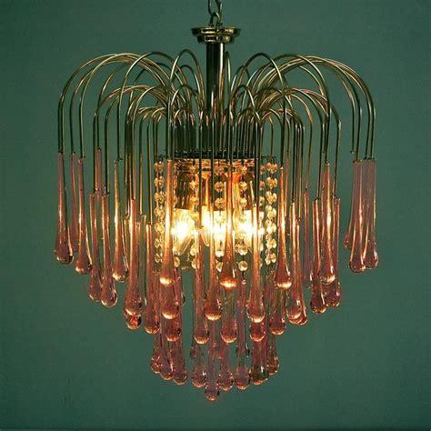Glass Teardrop Chandelier Murano Pink Teardrop Waterfall Chandelier By Venini 1960s Italy At 1stdibs