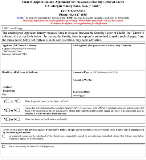 Agreement Letter Of Credit Letter Of Application Letter Of Credit Application Form