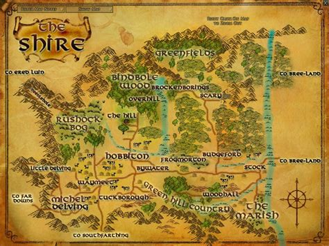 lotr map the shire maps lord of the rings zam