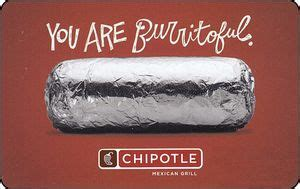 Chipotle Gift Cards Online - gift card you are burritoful chipotle united states of america chipotle col us