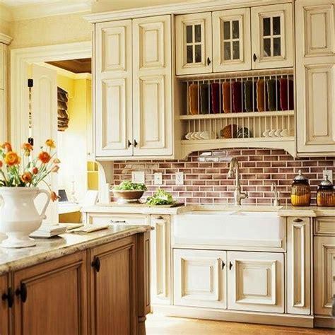 Brick Kitchen Cupboards by Brick Back Splash And White Cabinets Menard