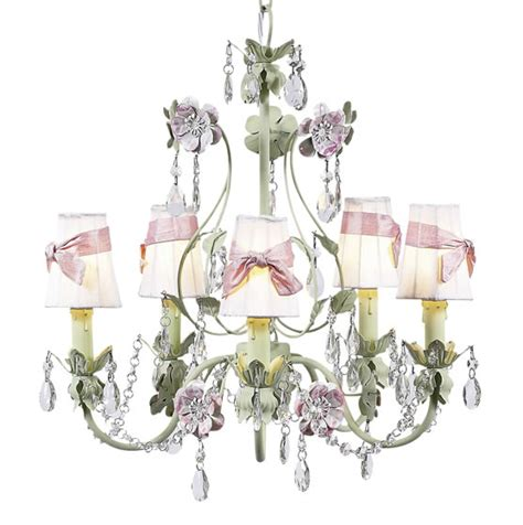 Pink And Green Chandelier 5 Arm Green And Lavender Flower Garden Chandelier Optional Pink White Shades