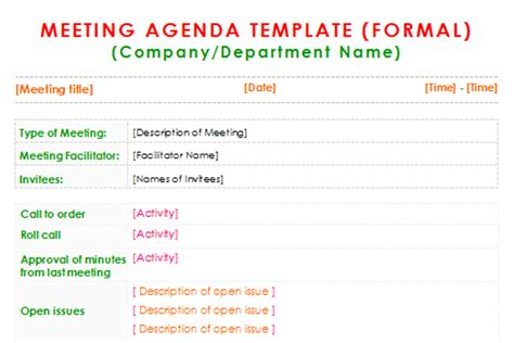 robert of order agenda template formal meeting agenda template for word dotxes