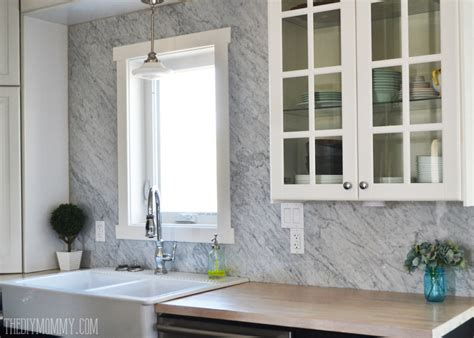 Diy Tile Backsplash Kitchen A Marble Panel Backsplash For Our Diy Kitchen The Diy Mommy