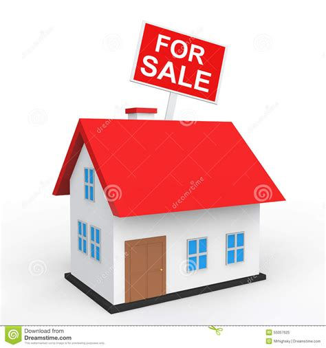 3d houses for sale 3d house with for sale placard stock illustration image 55057625
