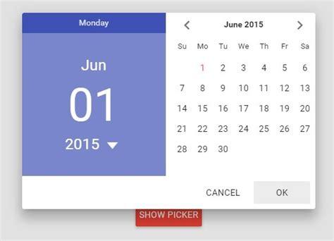 material design calendar js material design date picker for angular material