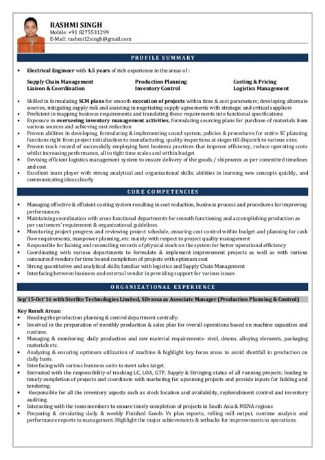 resume format for production planning engineer resume associate manager production planning