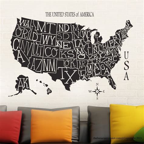 wall stickers usa usa map sticker decal muurstickers posters vinyl wall decals pegatina quadro parede decor mural