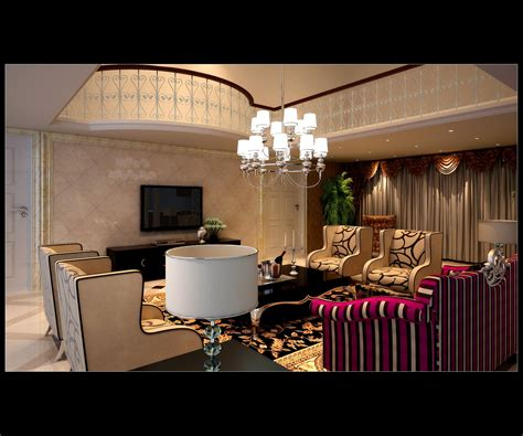 luxurious living room with fancy furniture 3d model max