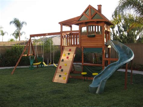 kids backyard swing set kids wooden cubby house swing set play gym climbing frame
