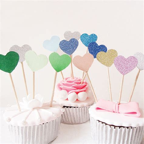 new home cake decorations happy birthday party 10 pcs heart new cake topper supplies