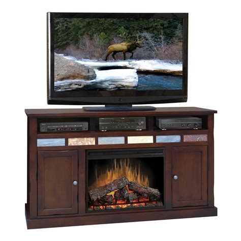 62 electric fireplace legends furniture creek cherry 62 quot electric fireplace tv stand made in the usa