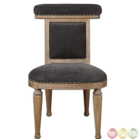 Wooden Accent Chair Tyrah Pewter Velvet Upholstery Exposed Wood Accent Chair 23169