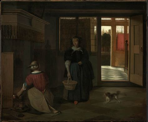 interior of a dutch house file pieter de hooch interior of a dutch house with a woman kneeling by a fire
