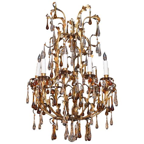 Iron Chandelier With Crystals Antique And Gilt Iron 10 Light Chandelier W Crystals At 1stdibs