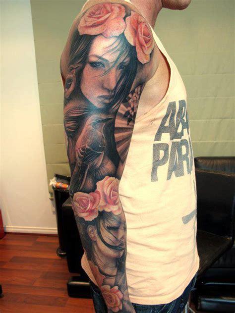 blue and pink portrait tattoo portrait images designs