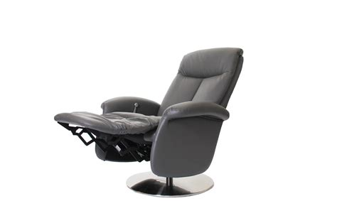 Swivel Recliner Chairs Imola Swivel Recliner Chair In Iron Grey Cow Hide Leather Pu All Chairs Fishpools