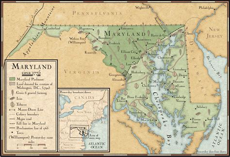 maryland map colony farming and mining in maryland in 1775 national