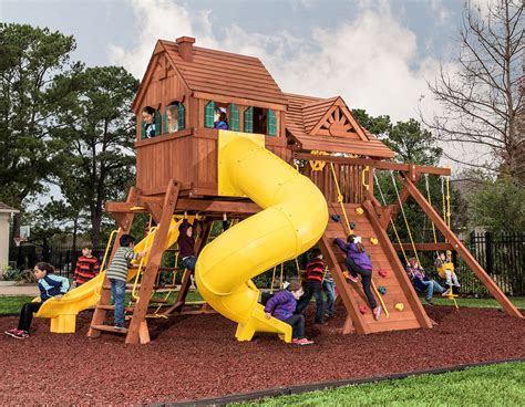 treefrog swing sets 6 5 texan megasized playcenter with cabin spiral slide