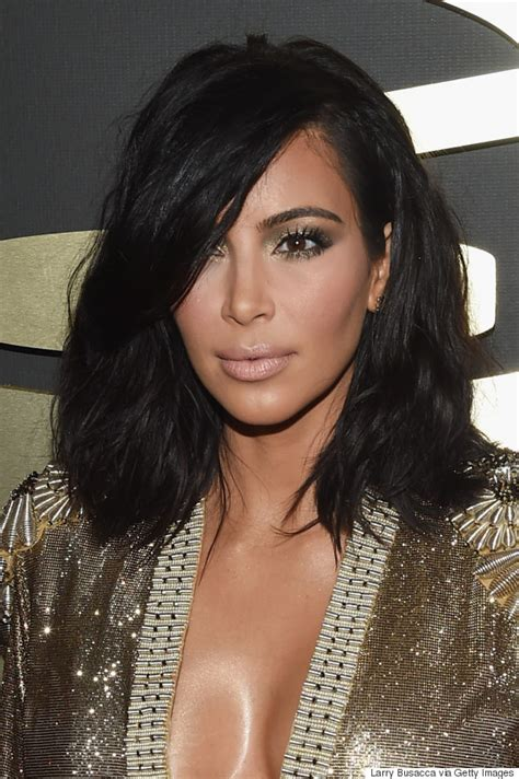 kim kardashian short hair grammy awards 2015 hair makeup was all about the sex