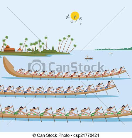 drawing of boat race boat race of kerala for onam celebration in vector