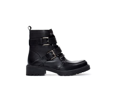 zara leather lace up ankle boot in black lyst