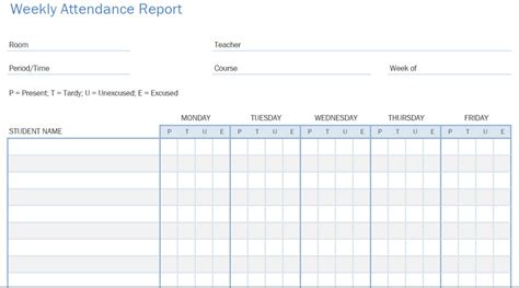 tracking calendar template weekly student attendance tracking