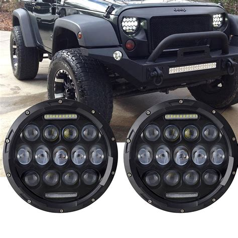 jeep lights 2x 75w 7 inch round led headlights jeep wrangler jk tj lj