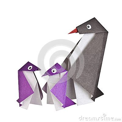 Paper Folding Figures - origami paper figures of penguins stock photo image