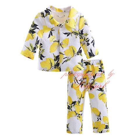 lemon pattern clothes best petigirl high quality yellow lemon pattern clothing
