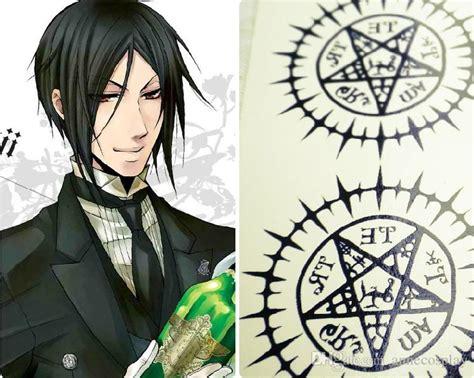Kaos Anime Seal Black annecosplay black butler kuroshitsuji sebastian michaelis sticker labels contract