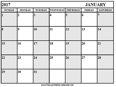 Printable 2017 January Calendar