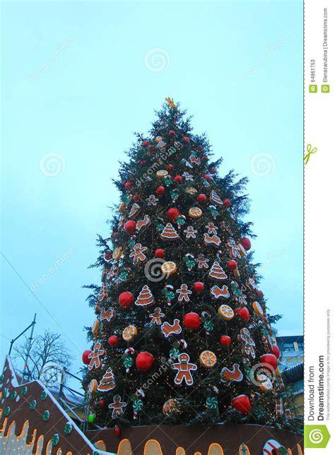 ukrain net on christmas tree tree in kiev stock photo image 64861753
