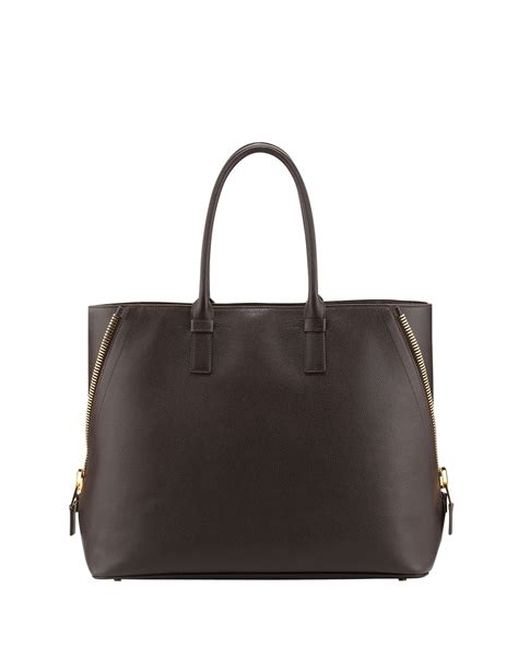 Tom Ford Bag by Tom Ford Trap Leather Tote Bag In Brown Lyst