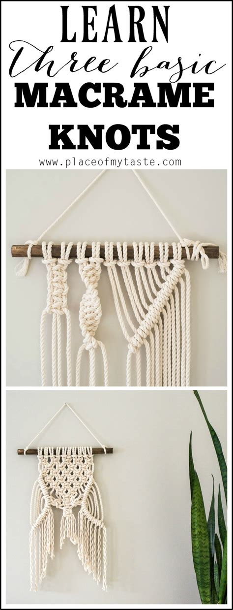 Macrame Knots Tutorial - learn three basic macrame knots to create your wall hanging